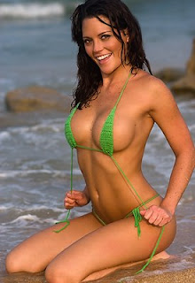 Nicole With Green Crochet Thong Bikini gallery pictures photos pics
