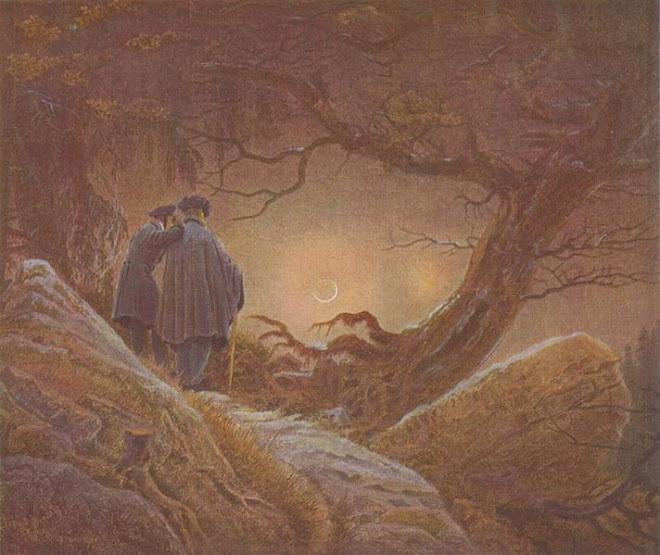 Dos hombres contemplando la luna