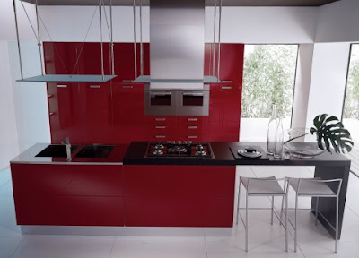 Modern Red Lacquer Kitchen