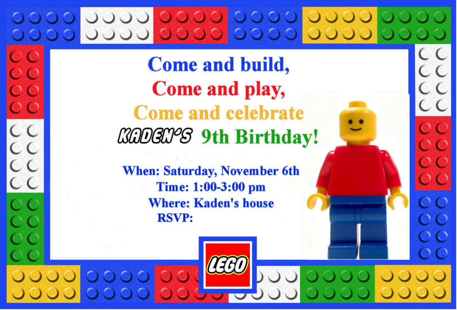 Lego Birthday Party Invitations