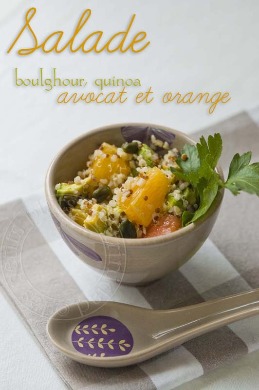 les petits plats de trinidad salade de boulghour quinoa avocat et orange. Black Bedroom Furniture Sets. Home Design Ideas
