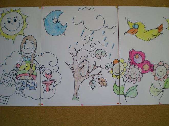 Painel pintado pelas crianças da pré-escola