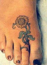 Flower Tattoo on the foot
