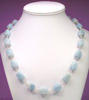 Aqua Amazonite Nugget Sterling Silver Necklace