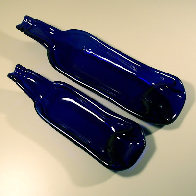 Recycled cobalt blue bottle spoon rests from Combustion Glassworks