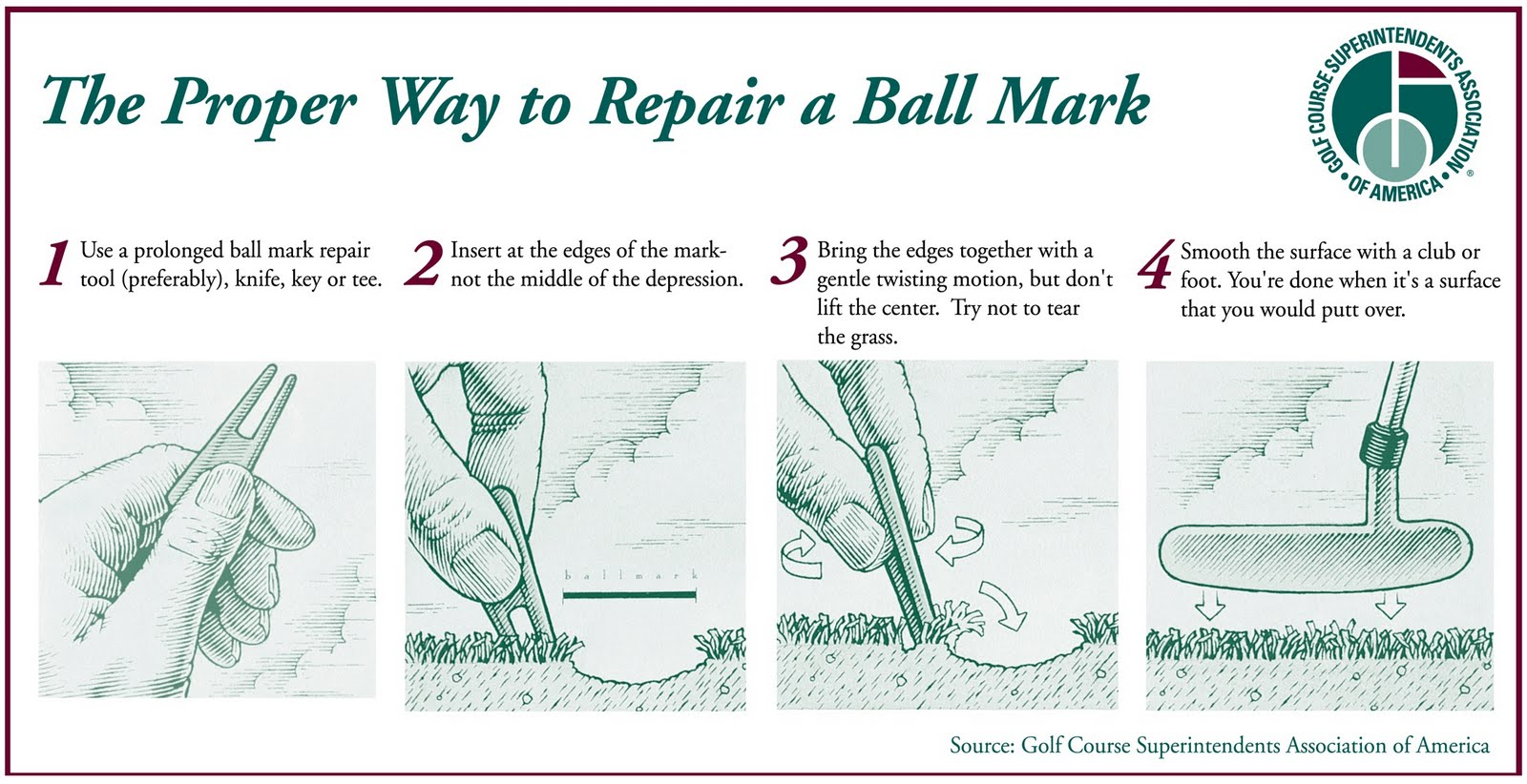 sugar creek golf course blog how to fix a ball mark. Black Bedroom Furniture Sets. Home Design Ideas