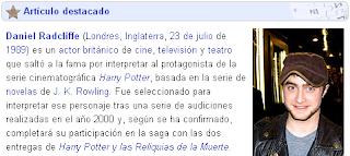 Daniel Radcliffe é destaque na Wikipedia espanhola
