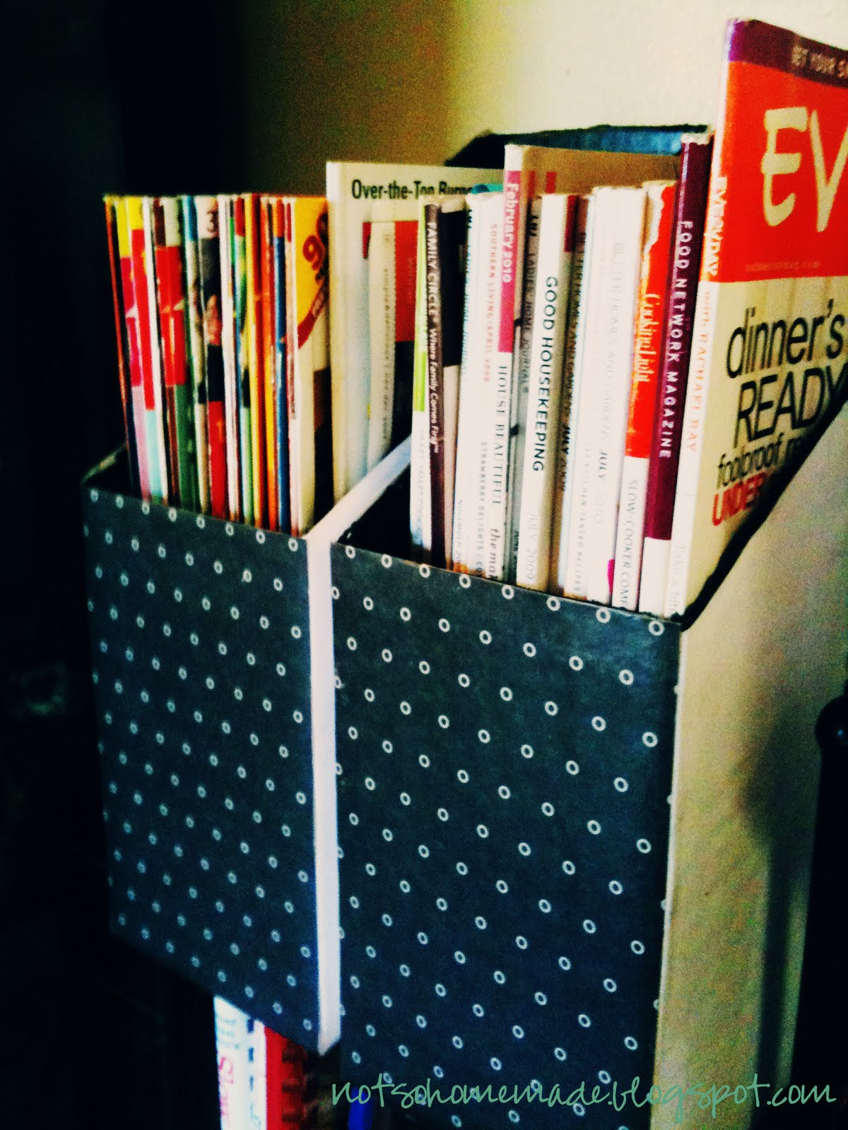 Not so homemade diy magazine holders for How to make a magazine holder from cardboard
