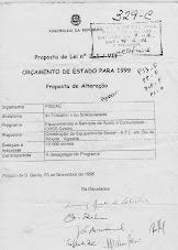 A proposta de entrada da obra no PIDDAC de 1999