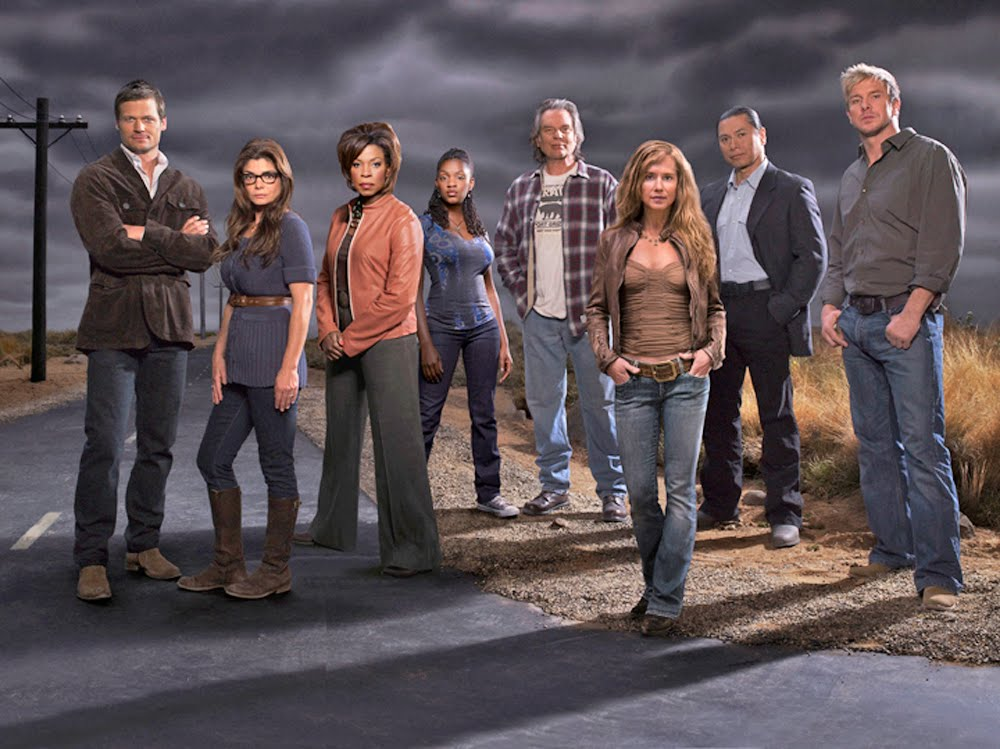 Cast P O From Season 3 Of Saving Grace From Left Bailey Chase San Giacomo Lorraine Toussaint Yaani King Leon Rippy Holly Hunter Gregory Cruz