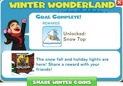 pictures of winter wonderland mission of zynga's cityville game; completed