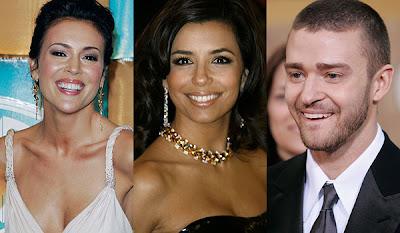 Alyssa Milano, Eva Longoria y Justin Timberlake