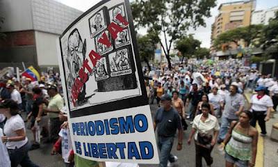 Marchas callejeras en Venezuela contra la mordaza informativa