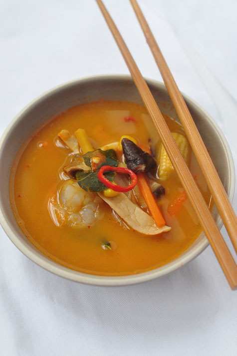 Coconut And Seafood Soup With Garlic Chives