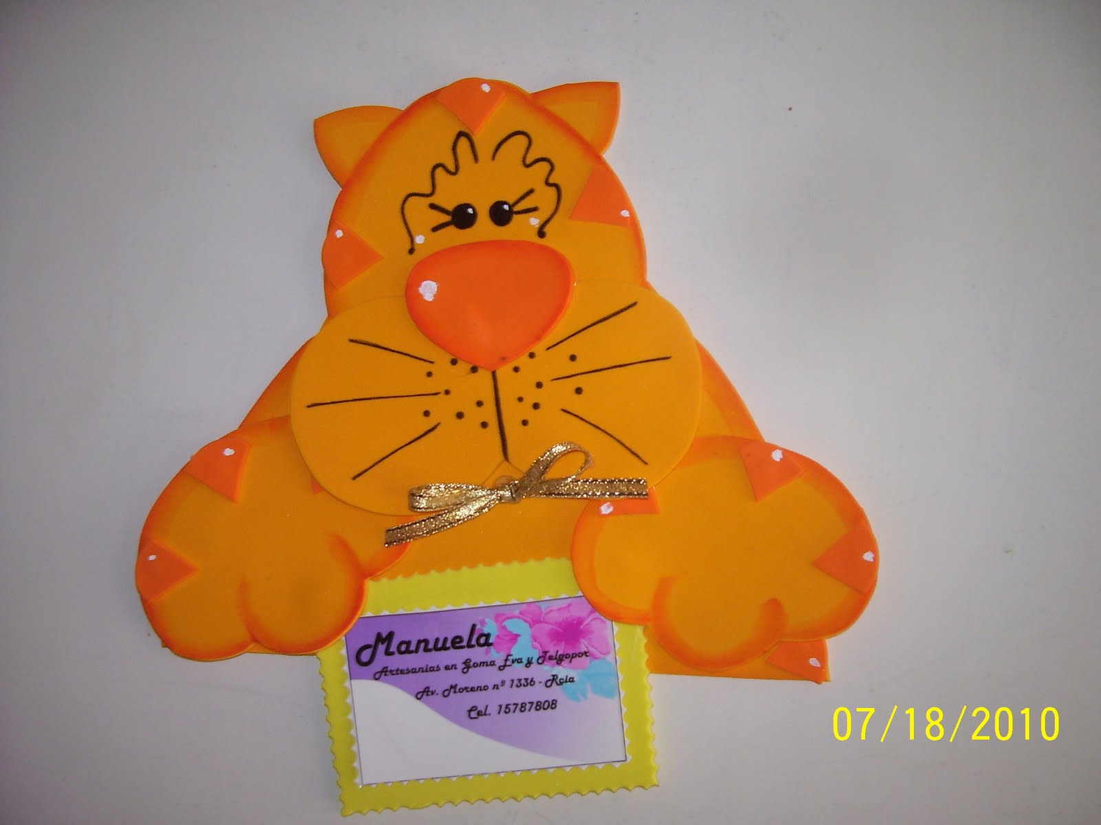 Gatito porta tarjeta confeccionado en goma eva