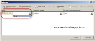 Ordenación de izquierda a derecha en Excel.