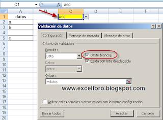 Omitir blancos en la Validación de datos de Excel.