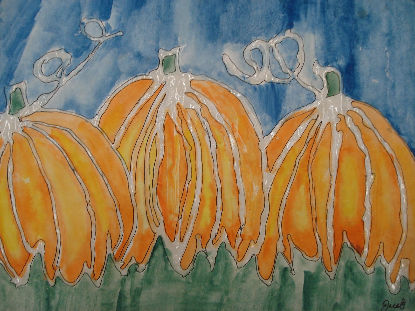 Line Art Painting : A faithful attempt glue line watercolour pumpkins