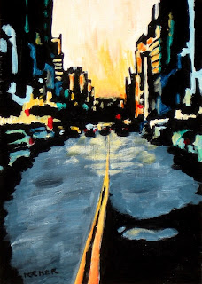 city painting   chicago cityscape   sunset