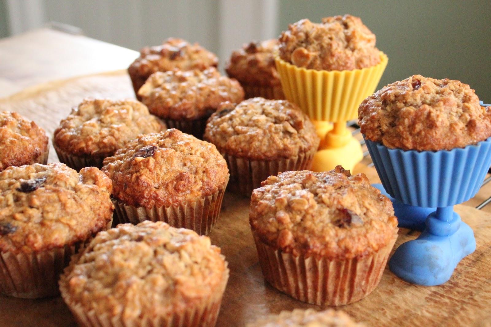 banana, apple and oatmeal muffins