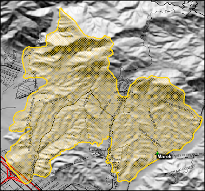 Marek Fire perimeter map as of 10-16-08. Click to view more...