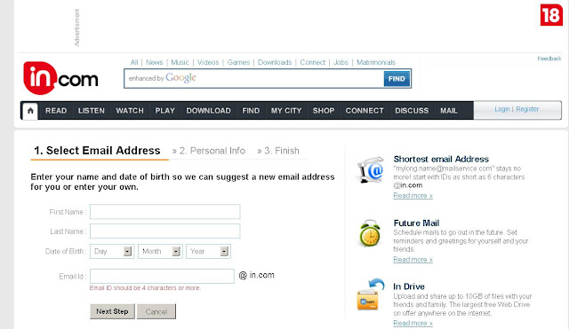 Mail.in.com - IN.com Mail: World's Shortest Free Email Address