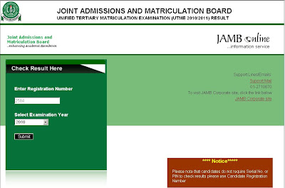 Jamb UTME Results 2010 Released : Check Your results