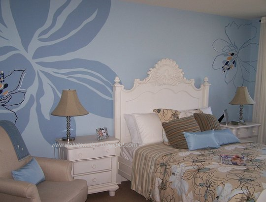 Wall Design For Paint : Wall stencils flower painting