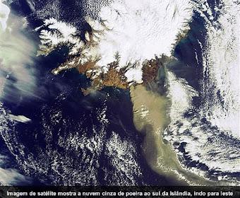 Vulcão da Islândia visto do espaço