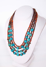 Carnelain and Blue jade Necklace JW.Style