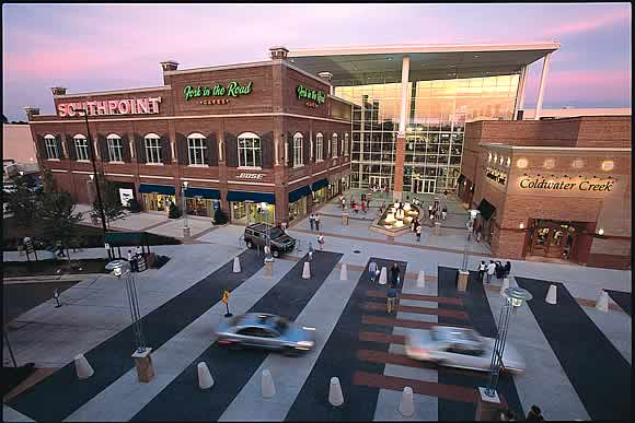 The Streets at Southpoint is located at I and Fayetteville Rd. in southern Durham. Parking: North side, near Barnes & Noble. Public Transit: Triangle Transit lines 5, 14, and to Movie Theater stop.