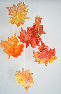 Fall leaves made from wax paper and crayons