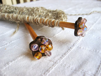 handcrafted fancy wooden knitting needles, glass beads, coconut shell, deniss ayselle firat