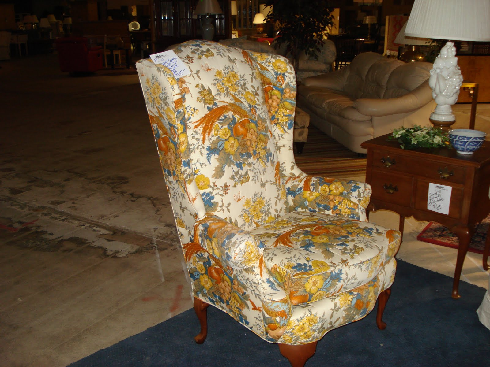 The Top Photo Of The North Hickory Furniture Co. Wing Back Chair In Orange  And Blue Is New This Week And There Are Two Of Them And Both Chairs Are In  ...