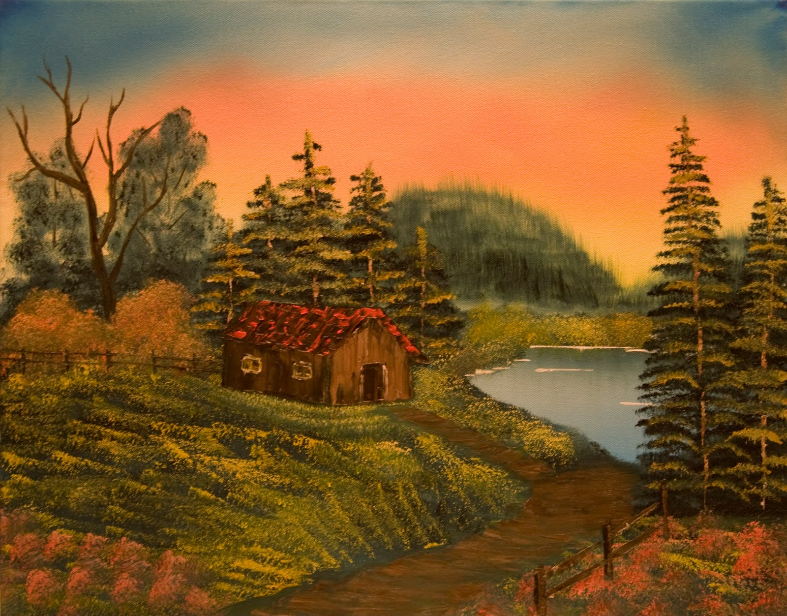 Time Outdoors Oil Painting Lakeside Cabin