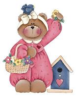 pfl ourse rose panier fleurs Imagens fofas!! para crianças