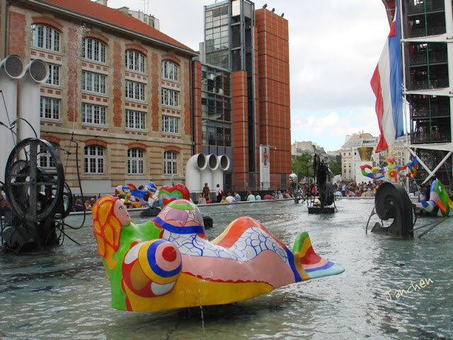 Stravinsky fountain in front of Centre Pompidou in Paris