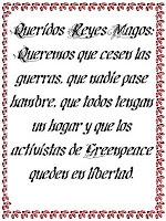 carta Reyes Magos Libertad activistas GREENPEACE