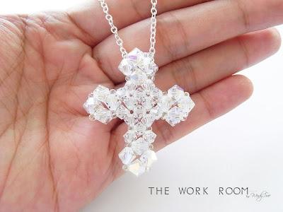 The Work Room: TWR038 Beaded Cross Pendant Tutorial