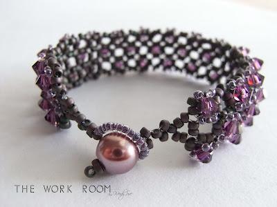 Beaded Cuff Bracelet Embellished Square Stitch by randomcreative