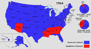 Here S The 1964 Election Results With Barry Goldwater S States In Red
