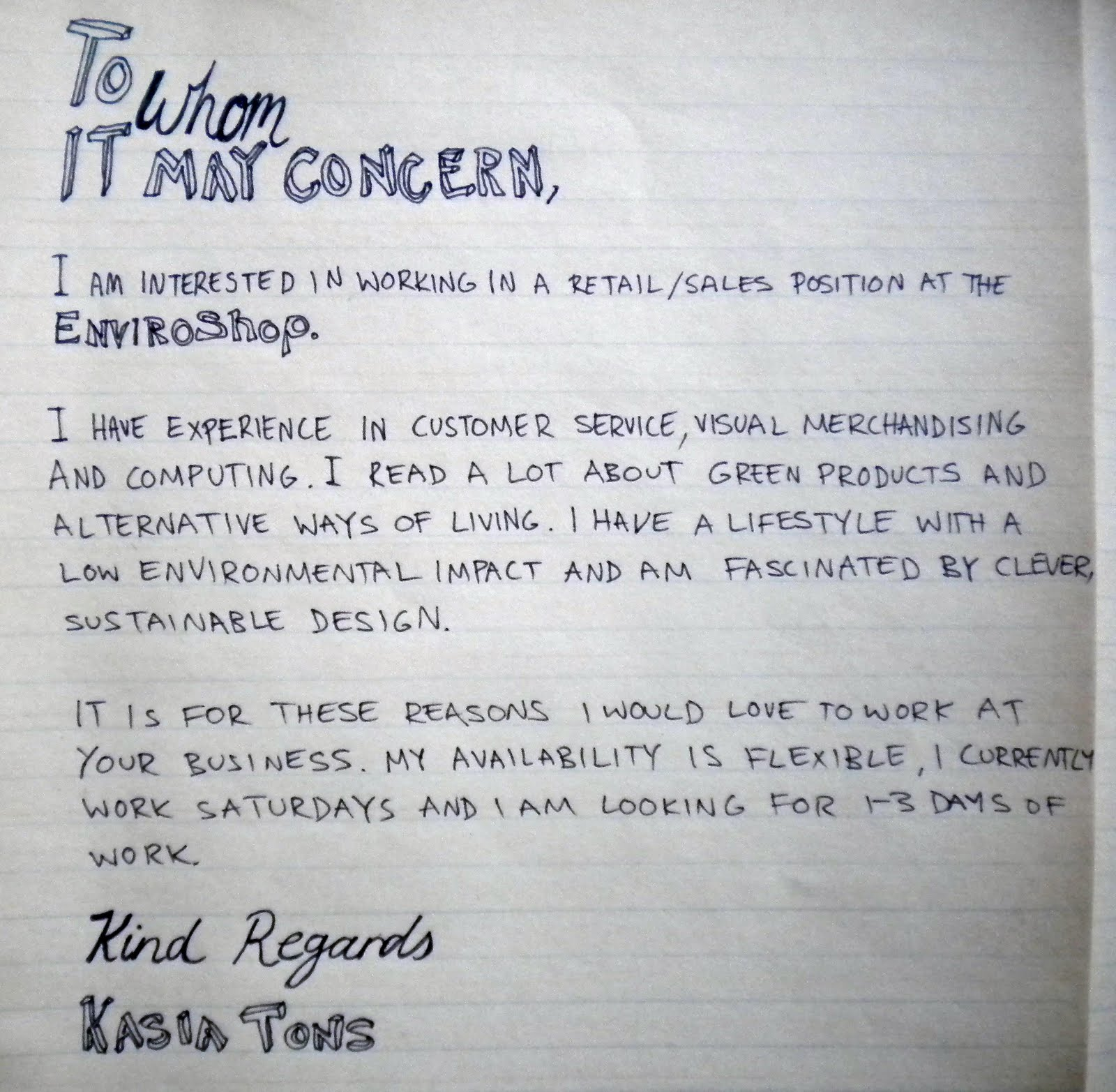 the hand written resume kasia tons