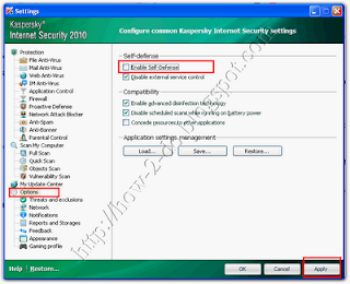 cara mereset kaspersky internet security
