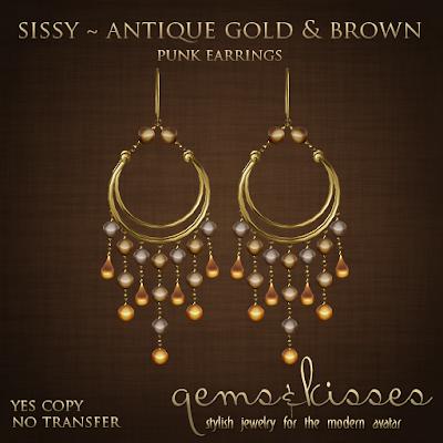 GB-Ferrero Stuff for members! Gems+&+Kisses+-+Sissy+-+Gold+&+Brown+-+Earrings