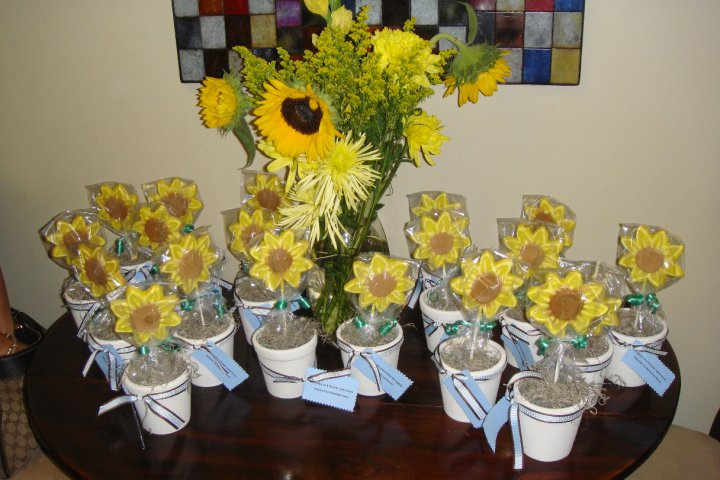 Our Favors...sunflower Cookies With Sweet Baby Sayings:)