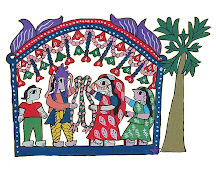 Mithila Art (Bride and Groom sharing garland during marriage ceremony)