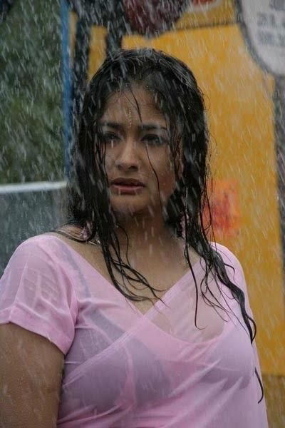 Telugu actress kiran rathod showing  bra through wet hot saree image gallery