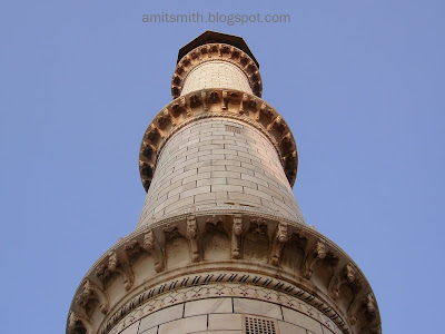 One Of The Four Mainars (Pillars) Of The Taj Mahal In Agra, India