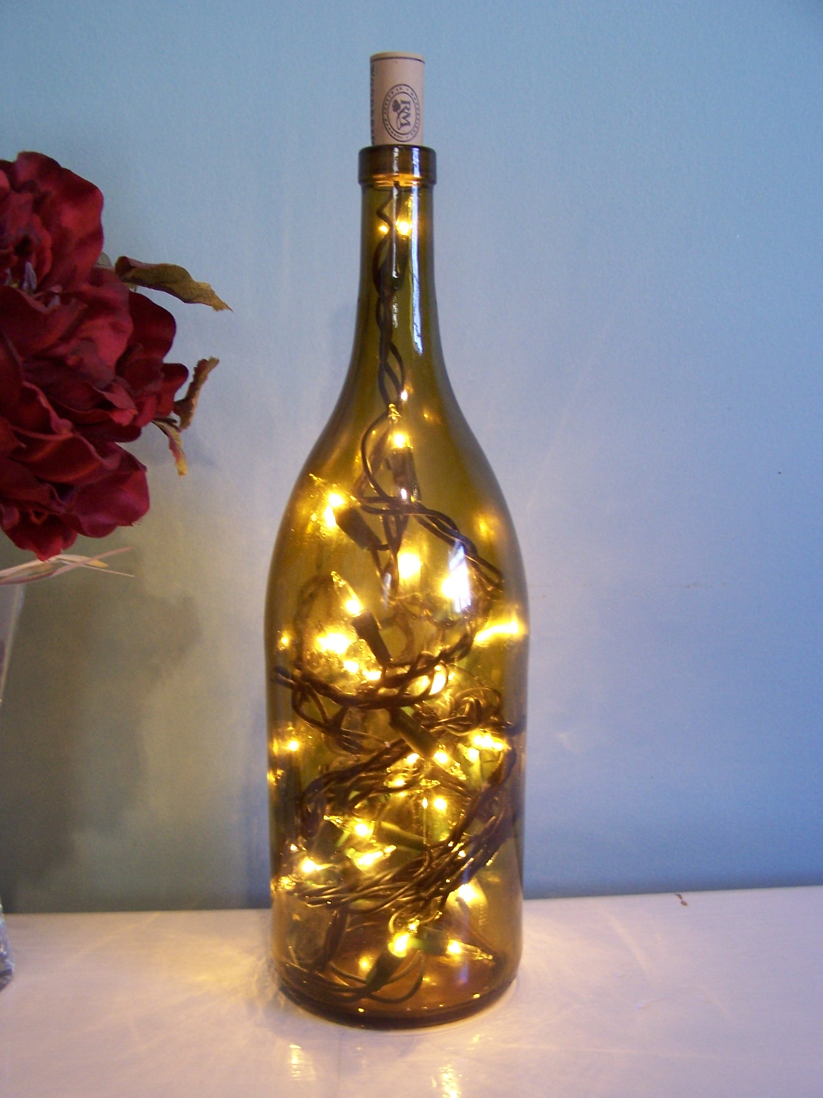 Nitty gritty pretty wine bottle lamp for How to make wine bottle lights