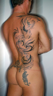 tribal back tattoo for men